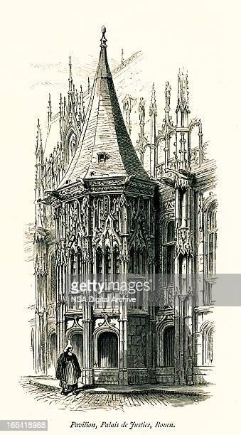 pavilion of palais de justice, rouen, france - normandy stock illustrations
