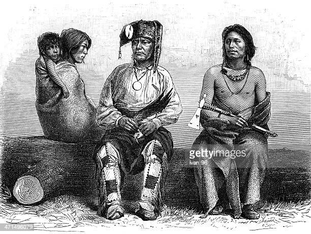 pawnee indians - indian costume stock illustrations, clip art, cartoons, & icons