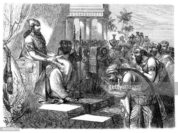 paying homage to an assyrian ruler - ancient babylon stock illustrations