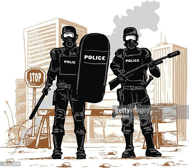 peace in town - riot police stock illustrations