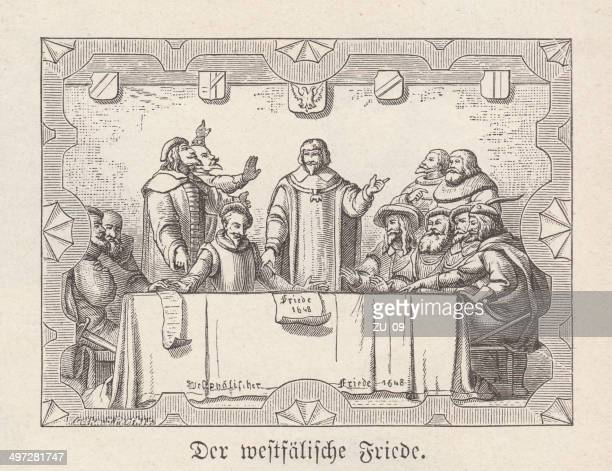 peace of westphalia in 1648, wood engraving, published in 1881 - north rhine westphalia stock illustrations