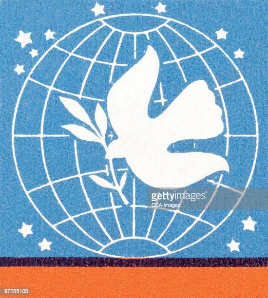 ilustraciones, imágenes clip art, dibujos animados e iconos de stock de peace to the world - paloma blanca