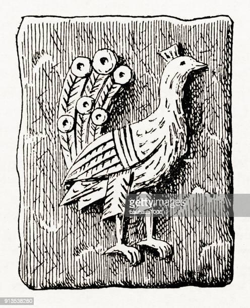 Peacock, opstanding christelijke symboliek gravure