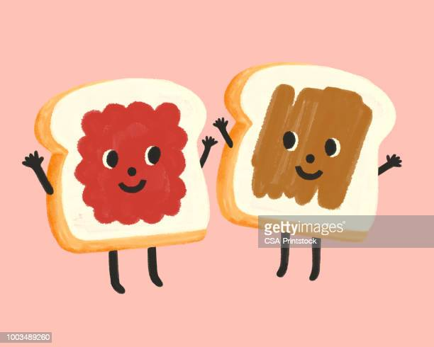peanut butter and jelly breads - peanut butter and jelly sandwich stock illustrations
