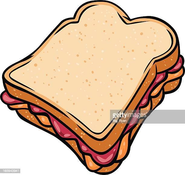 peanut butter jelly sandwich - peanut butter and jelly sandwich stock illustrations