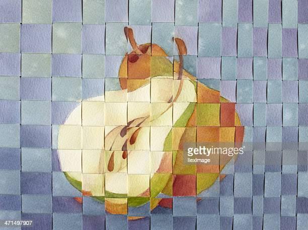 pear mosaic - photo mosaic stock illustrations