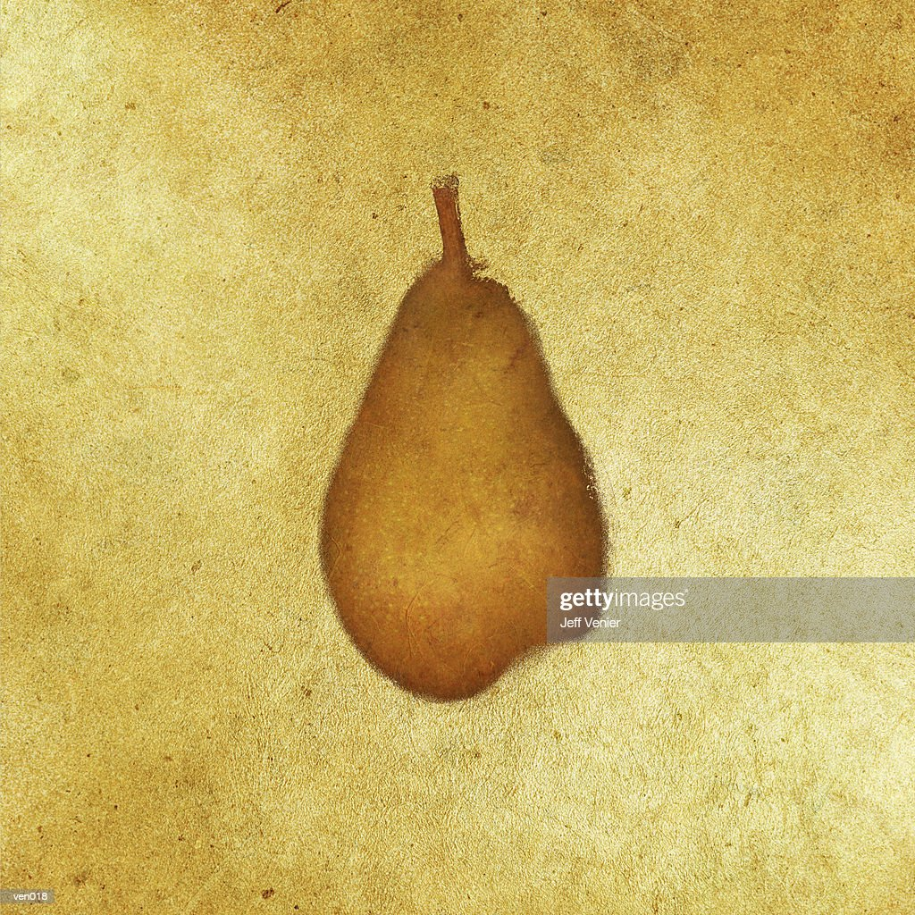 Pear on Gold Background : Stock Illustration