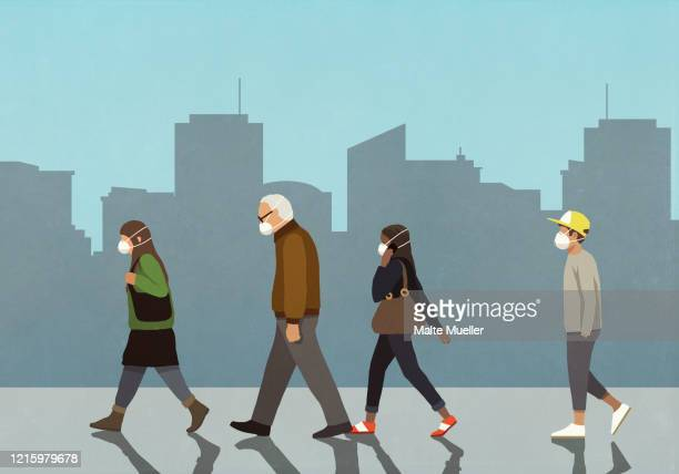 pedestrians in flu masks walking in city - infectious disease stock illustrations