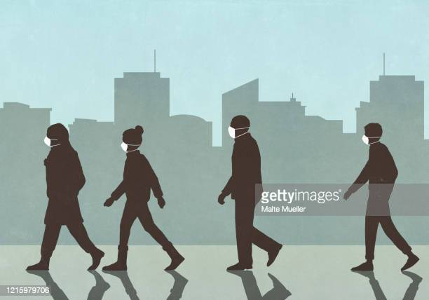 pedestrians in flu masks walking in city - human settlement stock illustrations