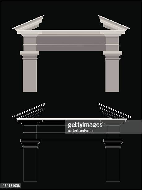 pediment - pediment stock illustrations, clip art, cartoons, & icons