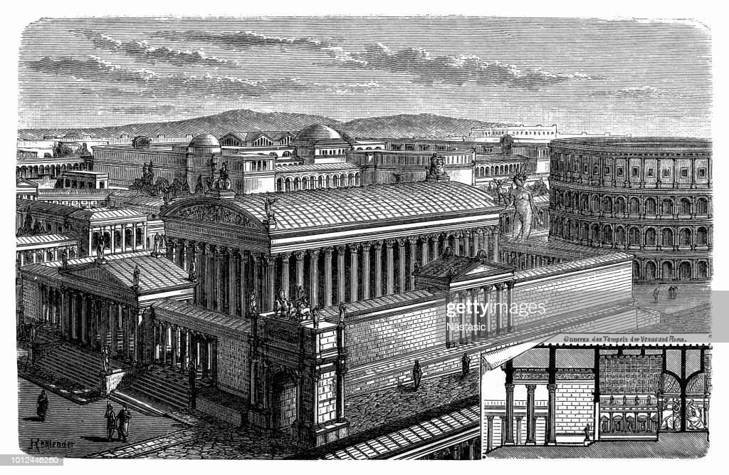 Pediment of the temple to all the gods in Rome : stock illustration