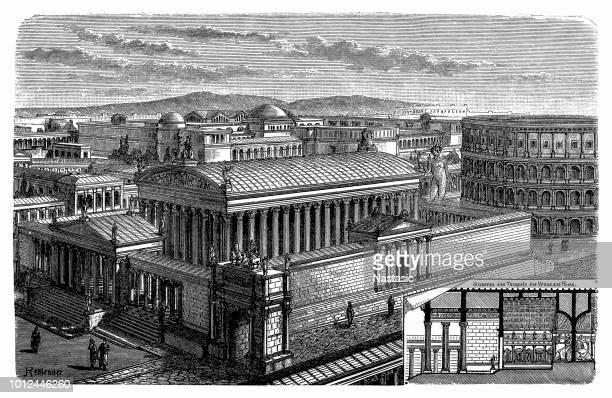 ilustrações, clipart, desenhos animados e ícones de frontão do templo de todos os deuses de roma - pediment