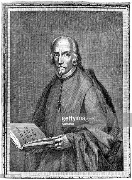 stockillustraties, clipart, cartoons en iconen met pedro calderón de la barca (17 januari 1600-25 mei 1681) was een toneelschrijver en dichter - pedo