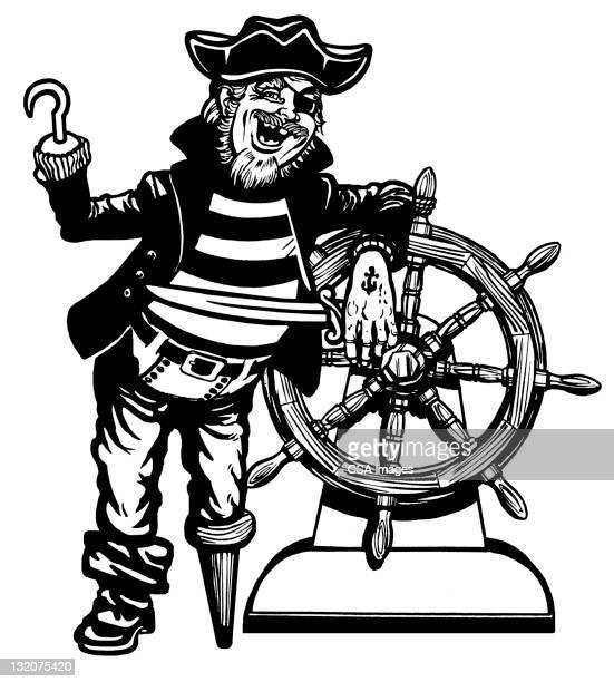 Peg pierna pirata en la rueda