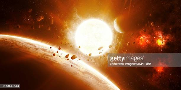 51 pegasi is a sun quite like our own with a group of bold planets that bask closely within its suns rays. - extrasolar planet stock illustrations