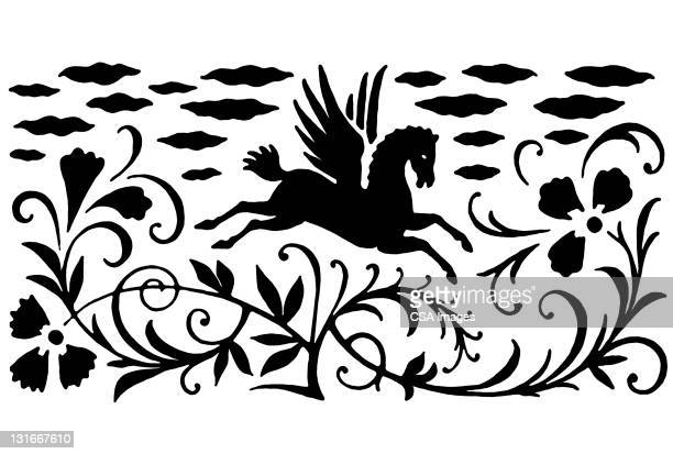 pegasus, flowers, clouds - floral pattern stock illustrations