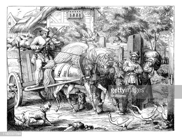 pegasus pulling cart after schiller - historical document stock illustrations, clip art, cartoons, & icons