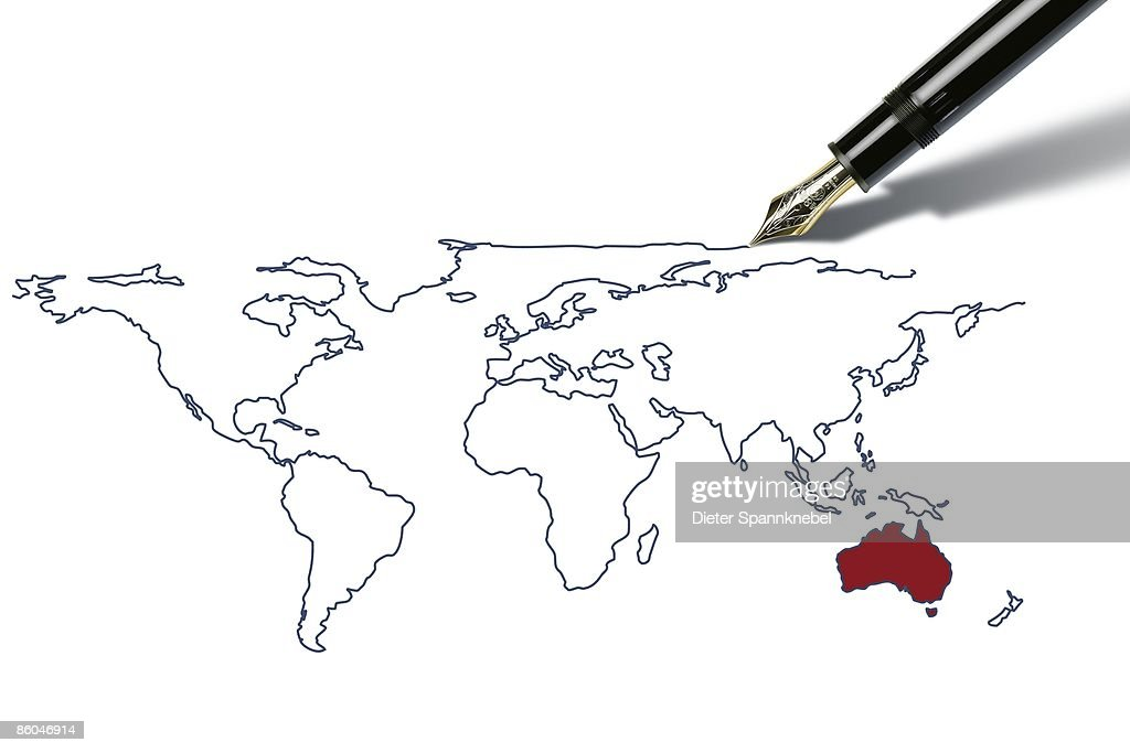 Pen draws a worldmap with australia highlighted stock illustration pen draws a worldmap with australia highlighted stock illustration gumiabroncs Images