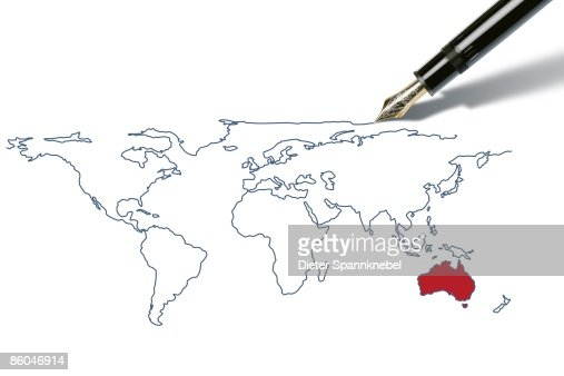 Pen draws a worldmap with australia highlighted stock illustration pen draws a worldmap with australia highlighted stock illustration getty images gumiabroncs Images