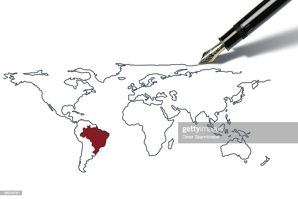 pen draws a worldmap with brazil highlighted stock illustration