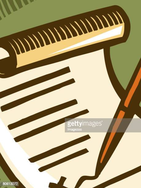 a pen signing a document - 証書点のイラスト素材/クリップアート素材/マンガ素材/アイコン素材
