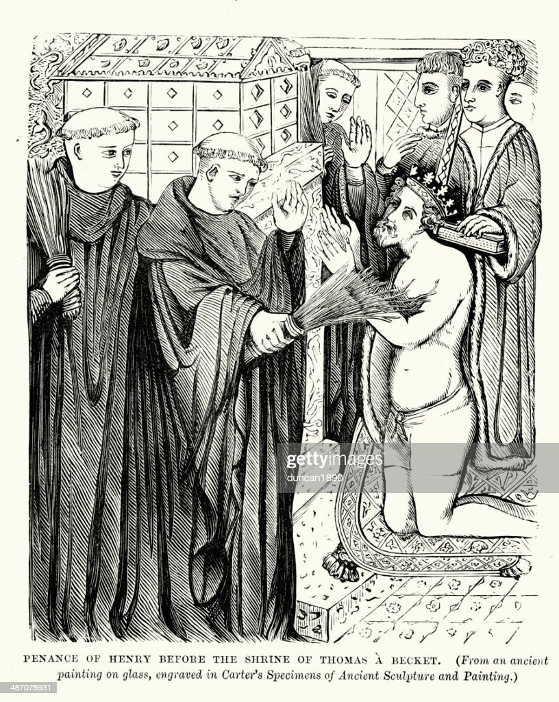 Penance of King Henry II : stock illustration
