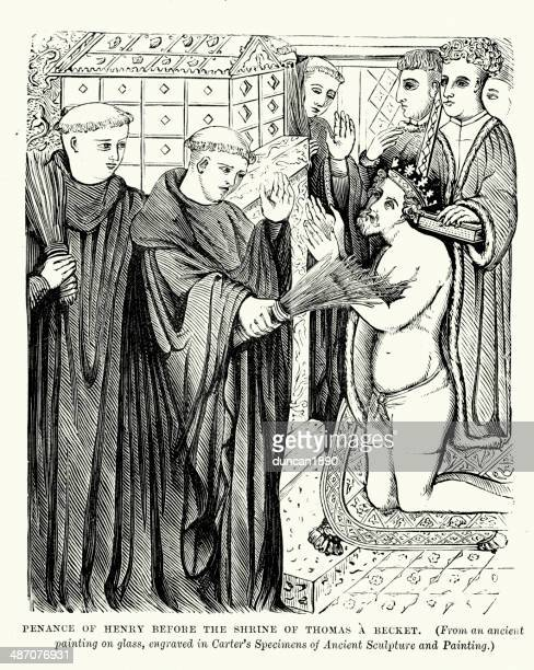 penance of king henry ii - penitente people stock illustrations, clip art, cartoons, & icons
