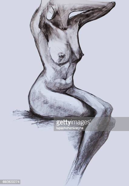 Pencil drawing of a naked female body