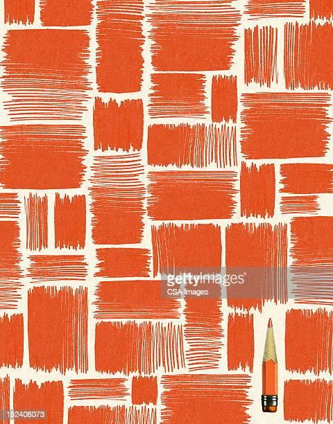 pencil in pattern - colour block stock illustrations