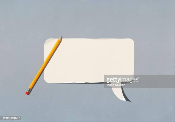 pencil over blank speech bubble - ideas stock illustrations