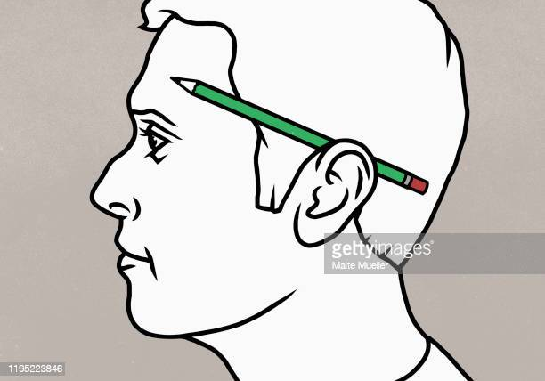 pencil over mans ear - adult stock illustrations