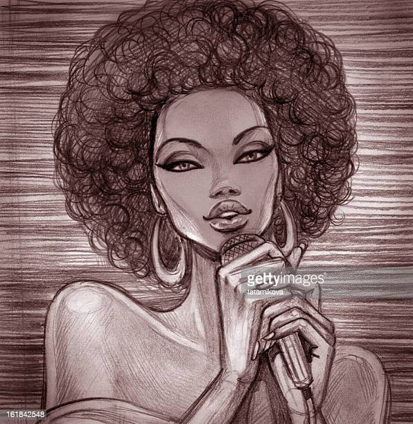 A pencil sketch of a female singer with an Afro