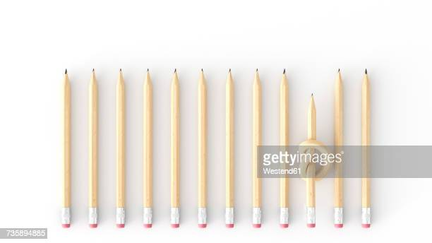 Pencil with knot amid straight pencils, 3d rendering