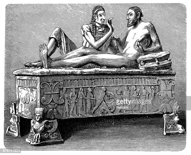 penelli sarcophagus ,terracotta sarcophagus with a married couple reclining on the lid - relief emotion stock illustrations, clip art, cartoons, & icons
