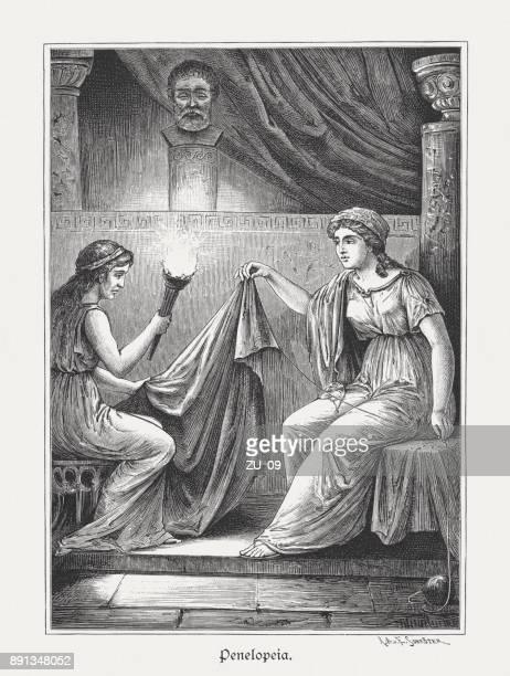penelope and her unfaithful maid melantho, greek mytology, published 1879 - trojan war stock illustrations, clip art, cartoons, & icons