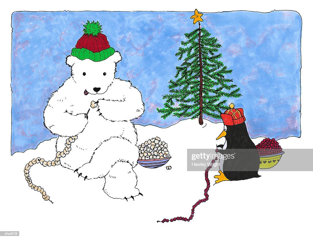 Penguin & Polar Bear Making Decorations : Stock Illustration
