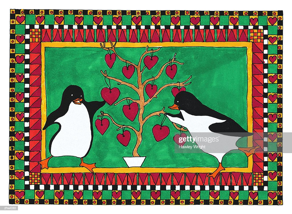 Penguins Hanging Ornaments : Stock Illustration