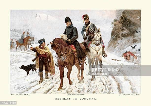 peninsular war the retreat to corunna - history stock illustrations