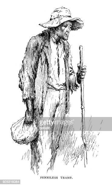 penniless tramp - vagabond stock illustrations, clip art, cartoons, & icons