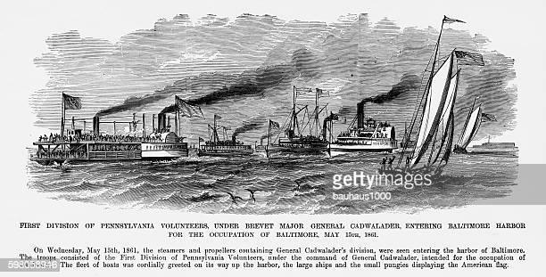 Pennsylvania Volunteers Entering Baltimore Harbor, 1861 Civil War Engraving