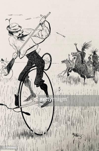 ilustraciones, imágenes clip art, dibujos animados e iconos de stock de penny farthing ciclista en el salvaje oeste - indios americanos sioux