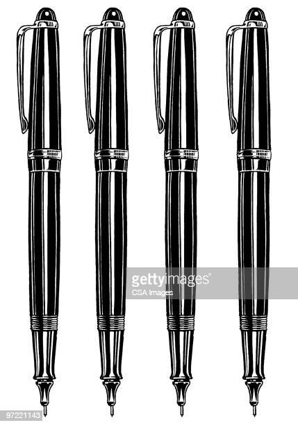 4 pens - four objects stock illustrations
