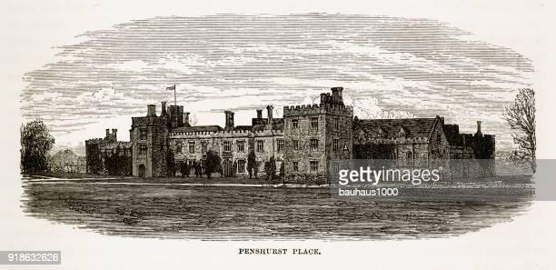 Penshurst, England, Penshurst Place, Victorian Engraving, 1840