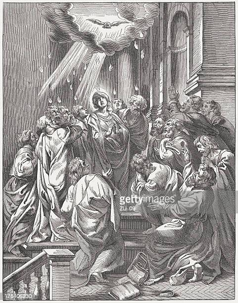 pentecost (acts 2, 1-4), wood engraving, published c. 1880 - following stock illustrations