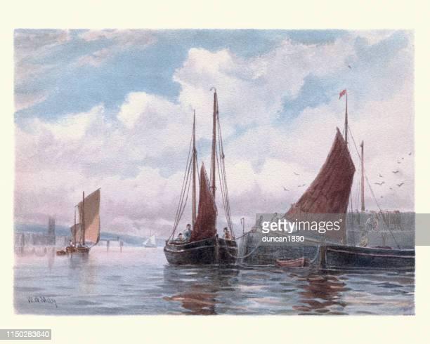 ilustrações, clipart, desenhos animados e ícones de barcos de pesca de penzance lugger em newlyn, cornualha, 19o século - pintura de belas artes