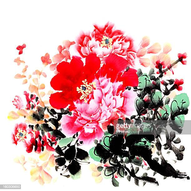 peony - floral pattern stock illustrations