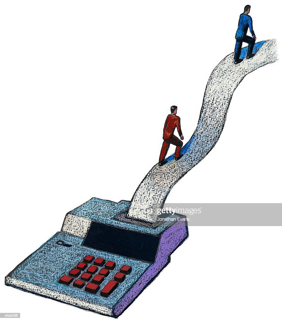People & Adding Machine : Stock Illustration