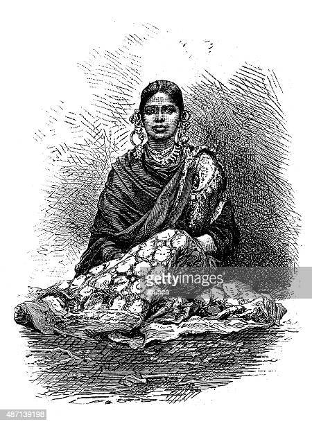people and traditions of the world: baroda, india - gujarat stock illustrations