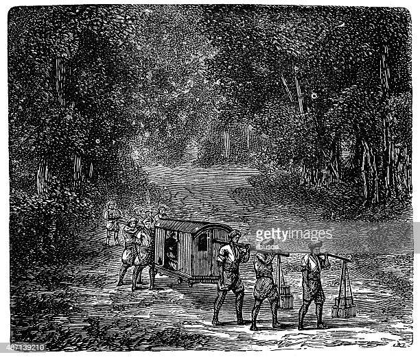 people and traditions of the world: indian palanquin - sedan stock illustrations, clip art, cartoons, & icons