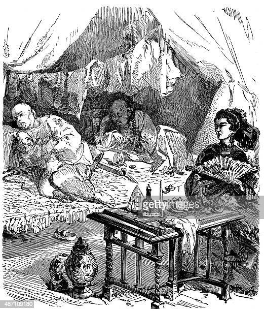 people and traditions of the world: opium smokers in china - opium stock illustrations